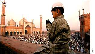 A Muslim boy prays in the Indian capital, Delhi