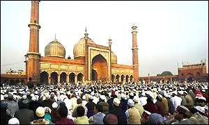 In Delhi, India, thousands gathered for prayers at the 17th century Jama Masjid