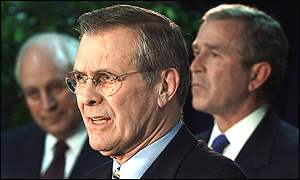 Dick Cheney, Donald Rumsfeld and George W Bush