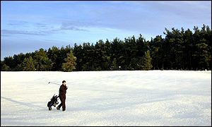 A lone golfer at Ladybank Golf Club in Fife