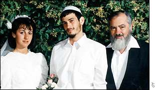 Binyamin Kahane, his wife Talia, left, and his father Rabbi Meir Kahane