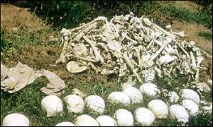 Skulls and bones from Cambodia's Khmer Rouge victims