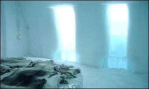 Bedroom in the ice hotel