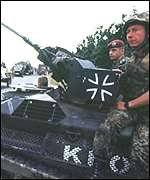 German K-For troops on patrol in Kosovo