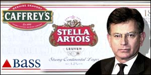 Stella Artois/Bass merger graphic with UK Trade & Industry Secretary Stephen Byers