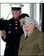 Palestinian leader Yasser Arafat leaves the White House