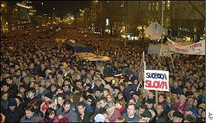 Protest in support of striking CT journalists, Prague, 3 Jan 2001