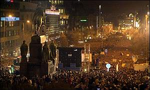 Wenceslas Square, Prague, protest in support of Czech TV journalists