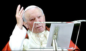Pope John Paul II addresses the crowd in St Peter's Squre, Rome, on New Year's Day