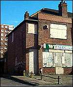A derelict chip shop in Walsall