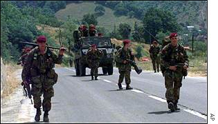 British Army soldiers working as Nato peacekeepers in Kosovo