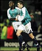 Darren Huckerby and Shaun Goater