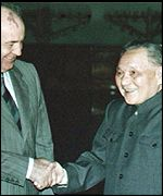 Gorbachev welcomed by  Deng Xiaoping, May 1989