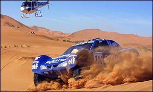 Jean-Louis Schlesser and Henri Magne drive their Schlesser-Megane in Moroccan desert
