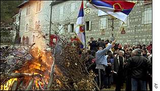 Serbian Christians celebrating in Montenegro