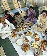 The Chudasama family having their last meal at home before flying to India