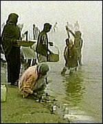 Hindus bathing in the River Ganges