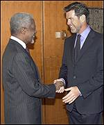 Kofi Annan and Pierce Brosnan
