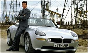 Pierce Brosnan with BMW from the film The World is Not Enough
