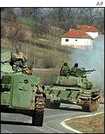 Yugoslav tanks in Kosovo, March 1999