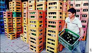 Beer crates in a shop in China