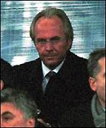 Sven Goran Eriksson watches England play Italy
