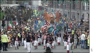 St Patrick's Day parade through Dublin