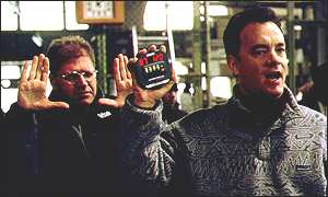 Zemeckis (left) directs Hanks in Cast Away