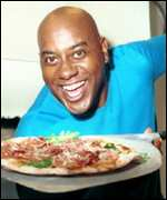 TV chef Ainsley Harriot and a pizza