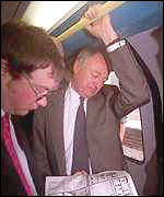Ken Livingstone on a London Tube train