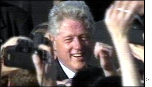 Bill Clinton mobbed by a crowd