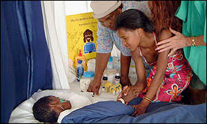 Family members at Nkosi's bedside