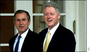 President-elect George W Bush and President Clinton