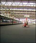 An empty station during the 1989 rail strike