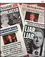 US newspapers after Clinton admits affair