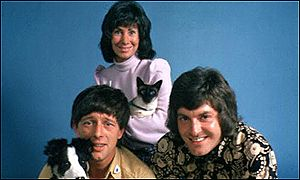 John Noakes with Shep, Valerie Singleton and Peter Purves