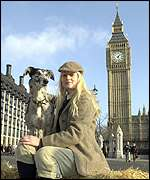 Hunt vigil member Hilary Chasteauneuf with lurcher Sweet