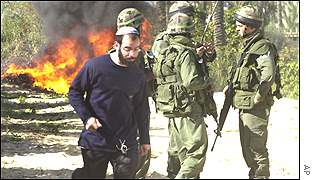 Israeli settler and soldiers