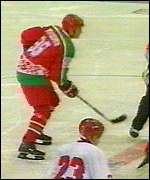 Lukashenko plays ice hockey