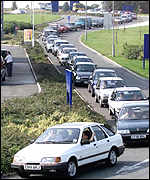 Cars queuing