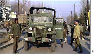 Soldiers at Srinagar airport