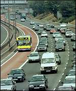 The M4 motorway bus lane