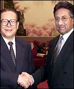 Jiang Zemin and Pervez Musharraf