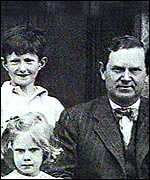 The young Auberon Waugh with father Evelyn