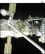 Inspection of the space station during a space walk
