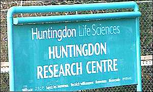 Huntingdon Research Centre sign