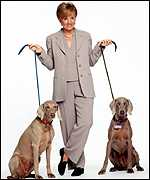 Anne Robinson with two watchdogs