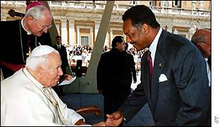 Reverend Jackson meets the Pope in 1999