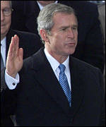 President George W Bush taking the oath of office