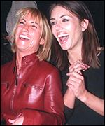 Meg Mathews and Liz Hurley